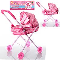 Прогулочная коляска для кукол и пупсов M 0355, коляска 0355 светятся колеса, металлическая