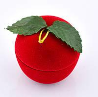 Футляр Яблоко 53350 для кольца-серег красный, размер 4*4.2 см