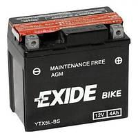 Мото аккумулятор EXIDE YTX5L-BS  4 А/ч, 70 А, (-/+), 113х70х105 мм