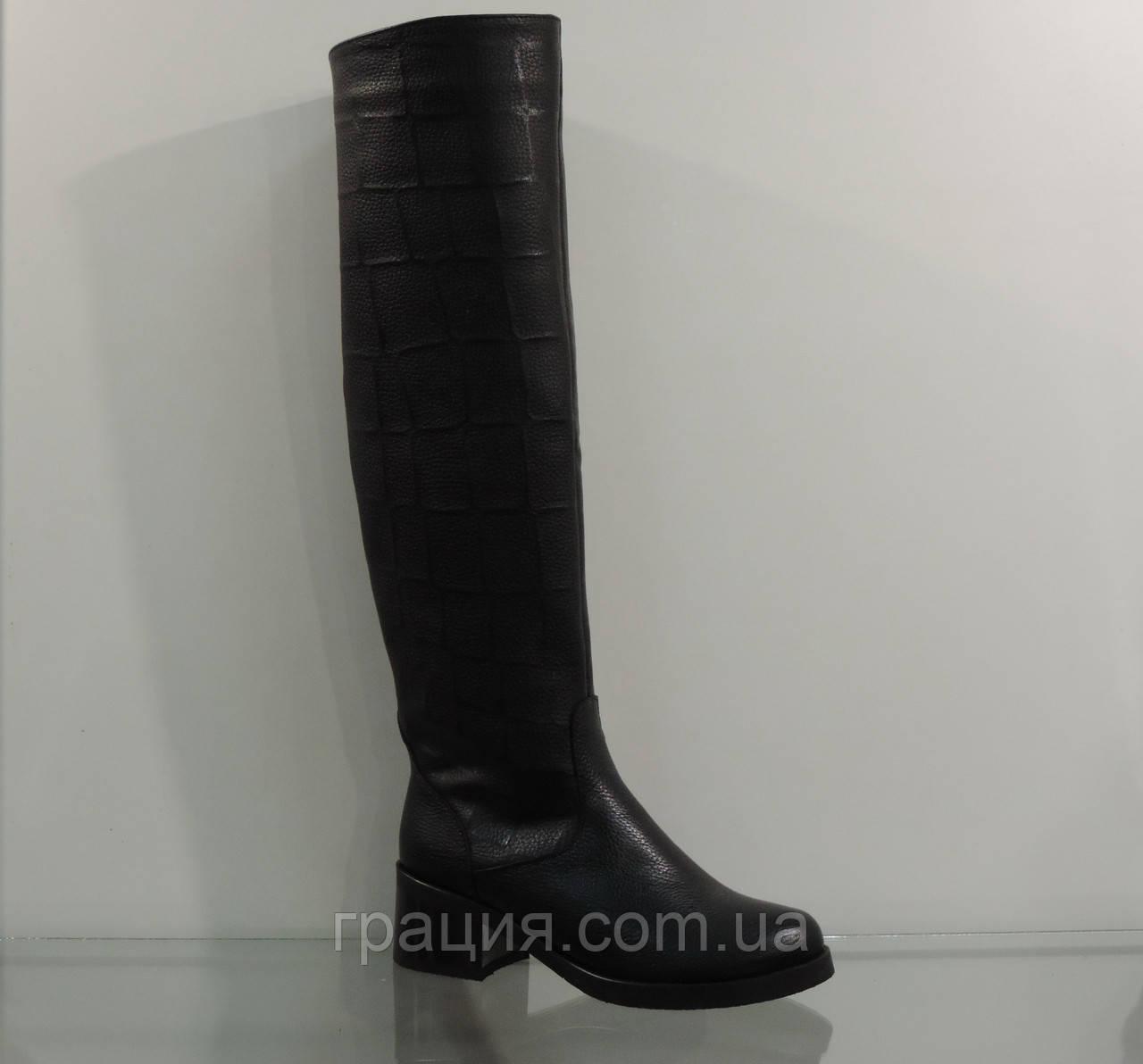 Модные женские высокие кожаные зимние сапоги