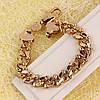 001-0604 - Позолоченный браслет Панцирное плетение с напайками, 20 см