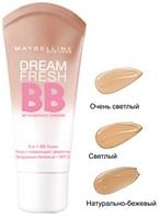 Maybelline Dream Fresh BB Cream 8 in 1 SPF 30 очень светлый Тональный крем (оригинал подлинник  Италия)