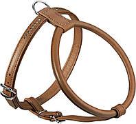 Шлея Hunter Round & Soft Petit для собак кожаная, бежевая, 30 см