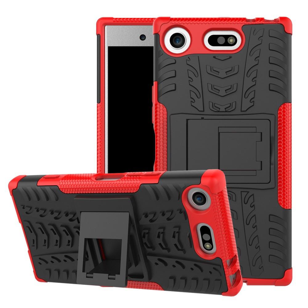 Чехол накладка для Sony Xperia XZ1 Compact противоударный с подставкой, красный