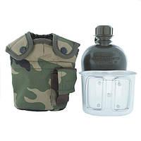 Армейская фляга с подстаканником USA Mil-tec в чехле (1 L) (14506020)