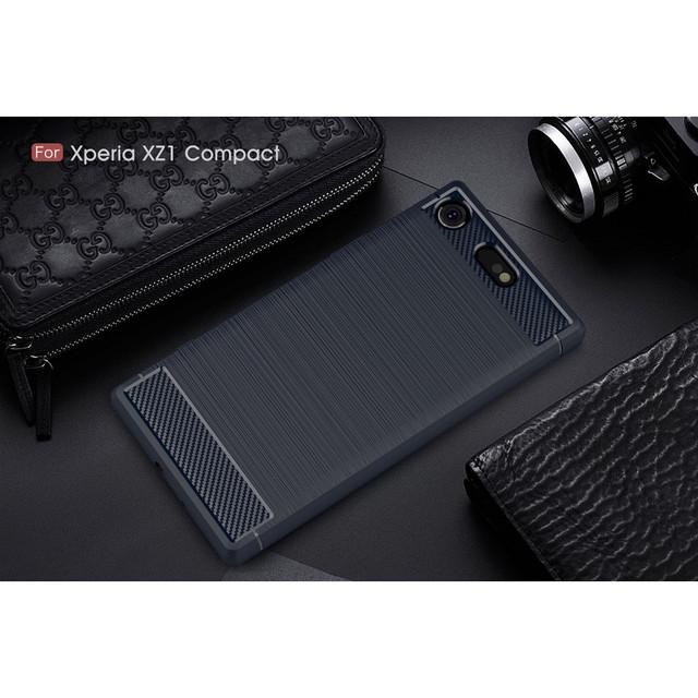чехол накладка Sony Xperia XZ1 Compact Carbon Fiber темно-синий