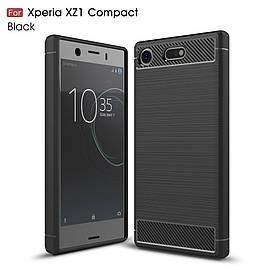 Чехол накладка для Sony Xperia XZ1 Compact силиконовый, Carbon Fiber, черный
