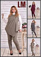 От 42 по 74 размер Красивый женский жакет 770564 осенний весенний деловой батал на работу большой жилет серый