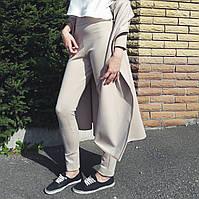 Бежевые брюки c высокой талией , фото 1