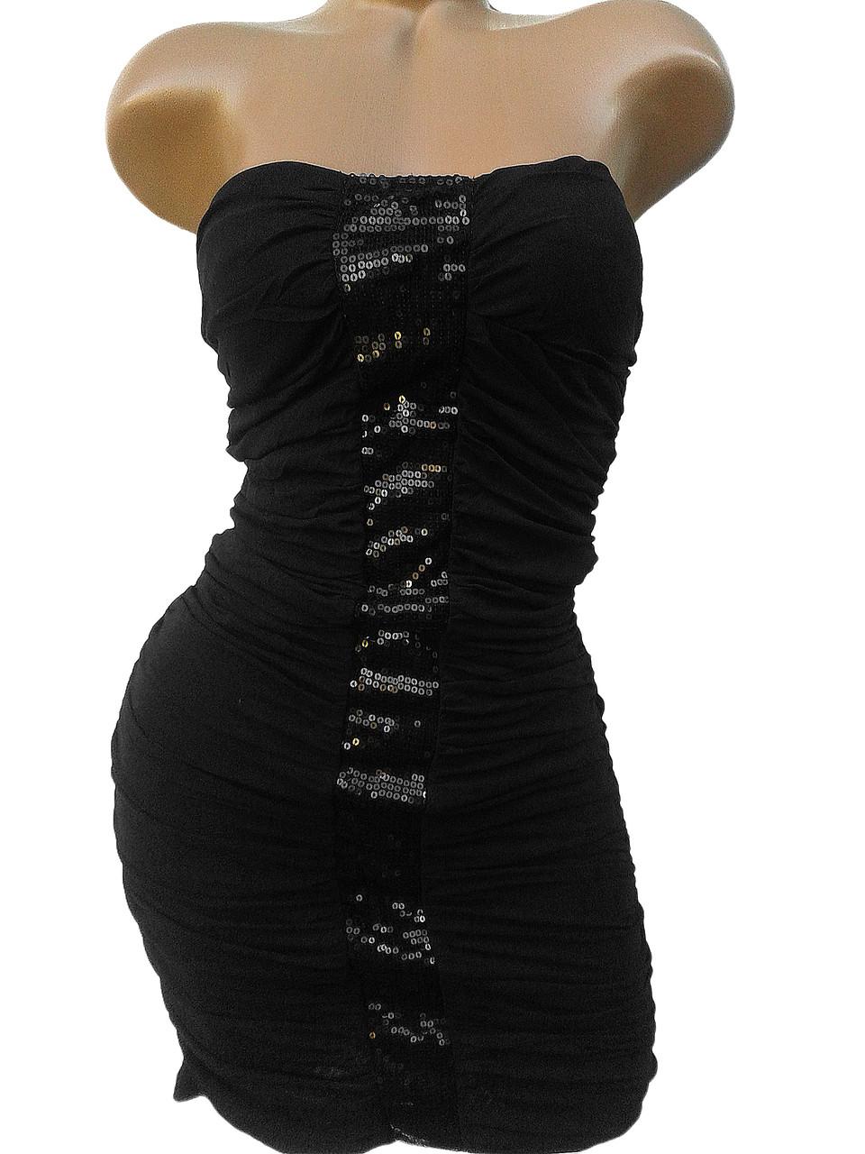 Нарядное платье-мини с плотными чашечками (44-46)