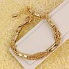 001-0614 - Фигурный позолоченный браслет плетение Перлина, 19-21.5 см