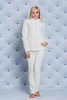 Махровая женская пижама молочная