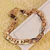 001-0618 - Браслет плетение Морская цепь Картье насечки полосочки розовая позолота, 21 см