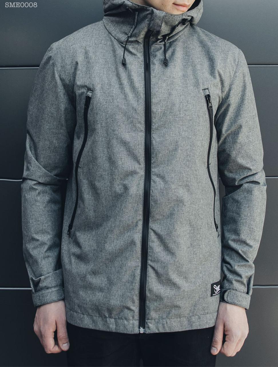 8683813a5389 Куртка, ветровка мужская спортивная Staff melange gray серая, утепленная  флисом с капюшоном 2017 -
