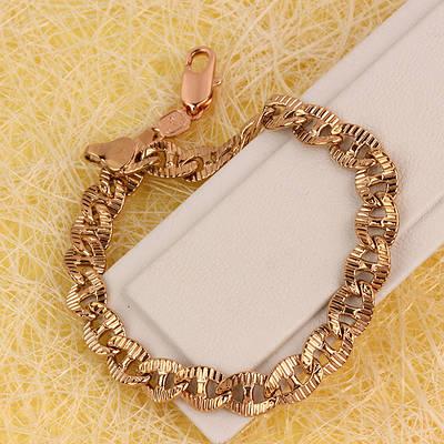R9-0619 - Браслет розовая позолота плетение Морская цепь Картье с насечками, 21.5 см
