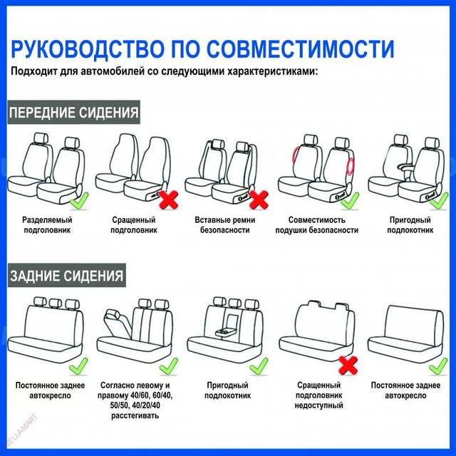 Набор универсальных чехлов на кресла автомобиля