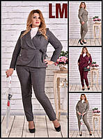 От 42 по 74 размер Красивый женский жакет 770585 осенний весенний деловой батал на работу большой пиджак серый