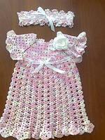 """Вязаное  нарядное платье на девочку """"Розовый туман"""""""