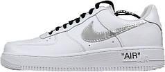 Мужские кроссовки OFF-WHITE x Nike Air Force 1 Low White/Metallic