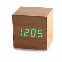 Часы будильник дерево wood clock green