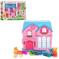Детский игрушечный Домик 60239AB, 24-24-7см, мебель, фигурки 4шт, муз, свет, 2 вида, на бат(таб), в кор-ке.