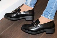 Т807 - Туфли женские черные на маленьком каблучке