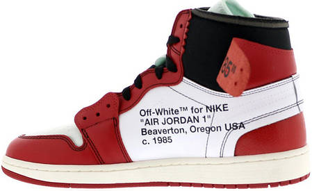 Женские баскетбольные кроссовки Air Jordan 1 Off White Red White, фото 2 5214da8ac0b