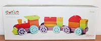 Детский деревянный конструктор Поезд Радужный экспресс LP-3 15 деталей CUBIKA