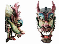 Этническая маска Дракон Раджа черный гребень 70 см широкая