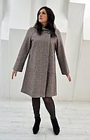 Пальто женское меланж Л-563А- бежевое