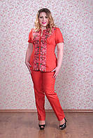 Льняной женский костюм Украинка брюки Захара лето вышивка большие размеры