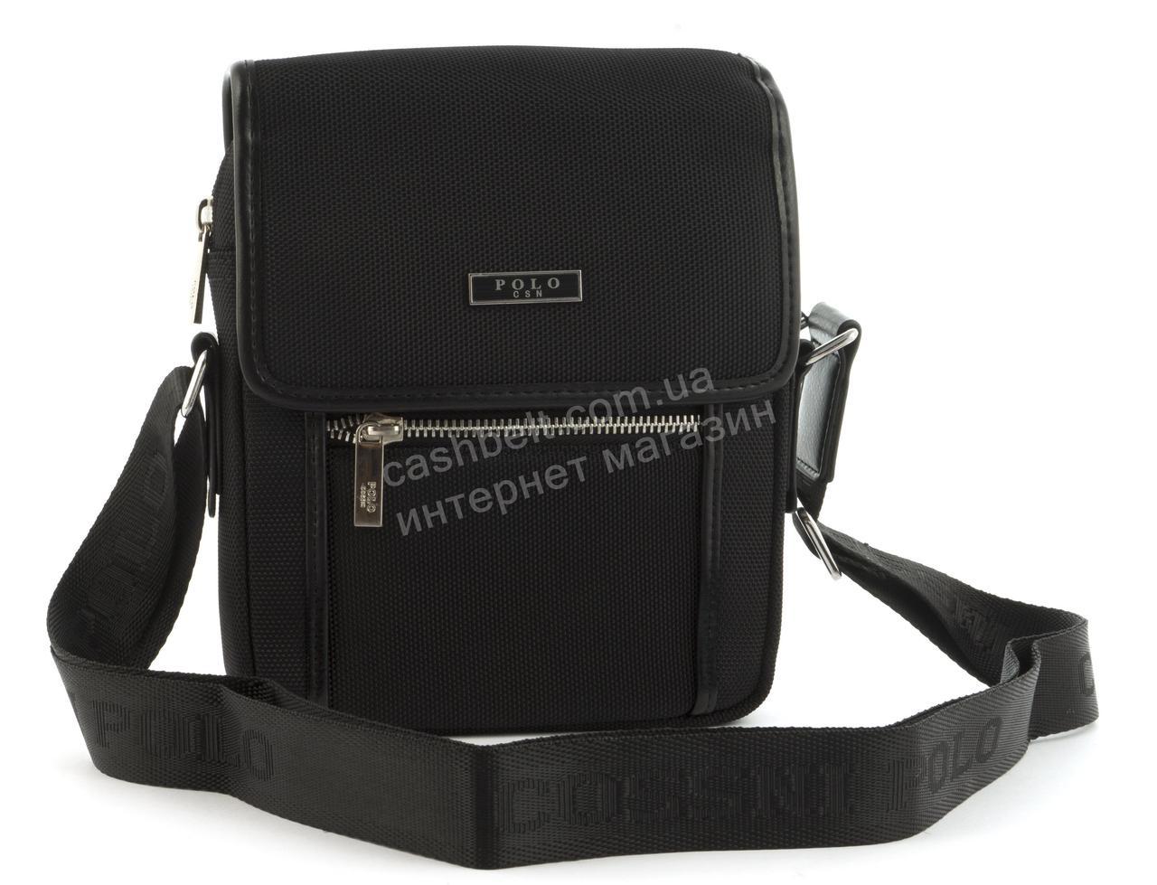 Очень прочная тканевая мужская небольшая наплечная сумка POLO art. 665-2 черная
