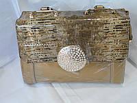 Женский клатч вечерний лаковый праздничный со стразами жемчужный  сумка вечерняя (26*19 см)