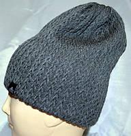 Молодежная шапка Ёлка на флисе  темно серый