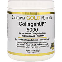 Морской коллаген California Gold Nutrition, CGN, CollagenUP™ 5000,+ гиалуроновая кислота + витамин, 205 г, фото 1