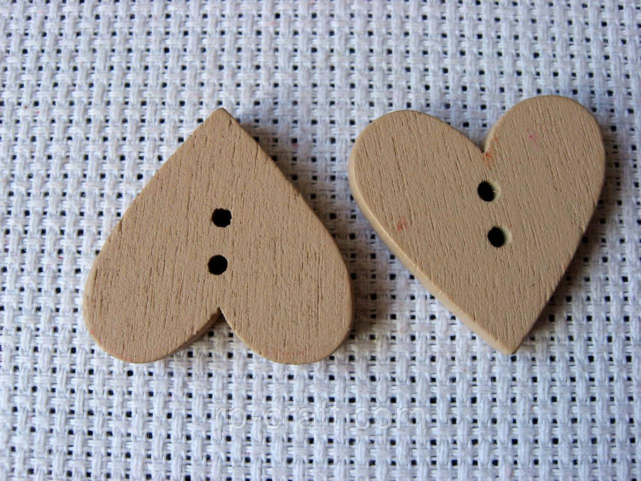 Гудзик дерев'яний, декоративний. Серце, 23х24 мм, бежевий