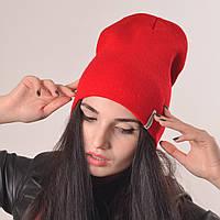 """Молодежная удлиненная шапка """"Чулок"""" красный"""