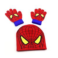 Комплект шапка и перчатки Спайдермен Человек Паук 2-4 года