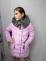 Полу-пальто зимнеедетскоес мехом для девочки 9-13лет,сиреневое