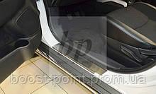 Защитные хром накладки на пороги Peugeot 4008 (пежо 4008 2012г+)
