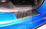 Защитные хром накладки на пороги Peugeot 206+ 5D (пежо 206+ 5 дверей 2009г+), фото 3