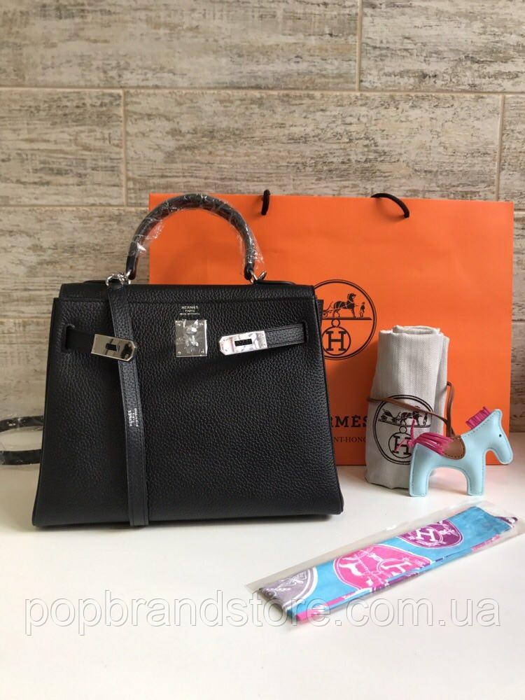 7f1b43328d83 Женская сумка Гермес Келли 28 см натуральная кожа черная (реплика) - Pop  Brand Store
