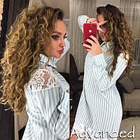 Платье-рубашка в полоску серую