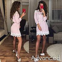 Платье-рубашка  в полоску розовую