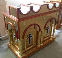 Свечной стол из булата с латунными колонами