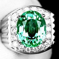 """Потрясающий  перстень """"Царское"""" с  турмалином параиба и белыми сапфирами, размер 17,7 студия LadyStyle.Biz"""