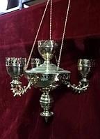 Лампада подвесная на 4 стекла из латуни