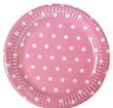 18 см 10 шт./упак. Набор тарелок Горох бумажные розовый