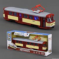 Трамвай 9708 D  подсветка, звук, открываются двери, инерция