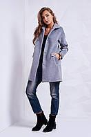 Элегантное женское демисезонное пальто серое   S, M